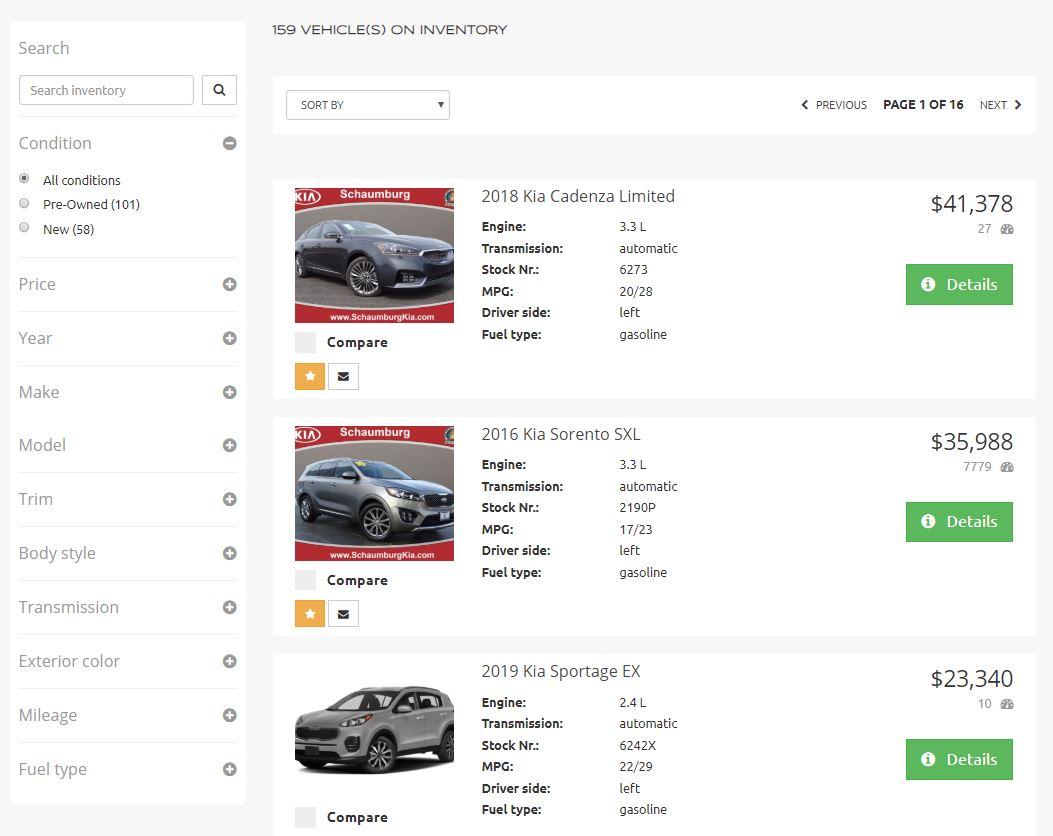 PraktikBid vehicle inventory system.